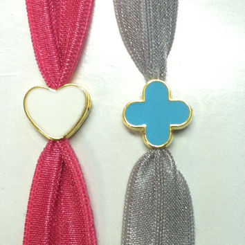Elastic Hair Ties (and Bracelets) w/ Gold Toned Heart or Flower Bead