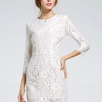 A Line Elegant O Neck Slimming Long Sleeve White Lace Dresses