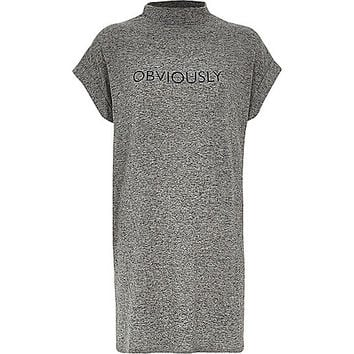River Island Womens Grey marl obviously slogan oversized t-shirt