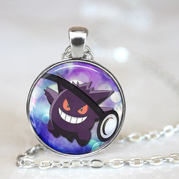 Gengar Pokemon Pokeball Necklace 1 Inch Round Cosplay Birthday Christmas Friendship Gift Collection Anime Geekery Gaming Handcrafted Pendant