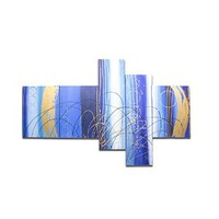 Besaw Art 100% Hand-painted Floral Oil Painting on Canvas Modern Wall Art Abstract Untrammelled Lines in the Blue Sky, 5 Panels Combination Paintings