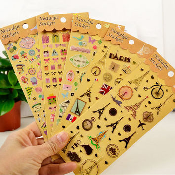 Gilding+PVC Iron tower Planner Calendar Book Cute Diary Sticker Scrapbook Decoration 20 style Free Shipping