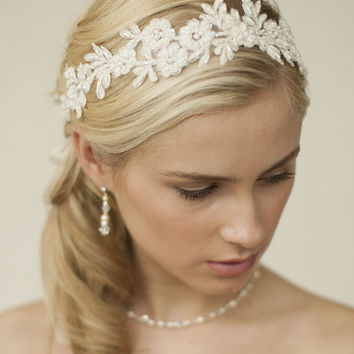 Ivory Lace Applique Garden Wedding Headband