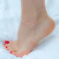 Rose Gold Anklet - Gold Heart Anklet -Silver Anklet-Beach Jewelry- Gold Ankle Bracelet - Rose Gold Ankle Bracelet - Gold Anklet