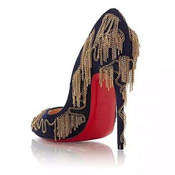 CL Christian Louboutin Women Chain Pointed Toe Heels Shoes