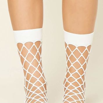 Sheer Fishnet Crew Socks