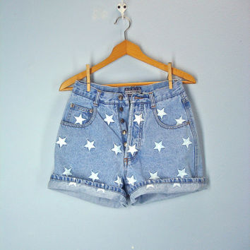 80s High Waist Shorts Denim Embroidered Stars Light Wash