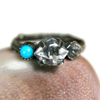 Wizard Ring, Herkimer Diamond Twig Ring, Sterling Silver Sleeping Beauty Turquosie Ring, Crystal Quartz Jewelry