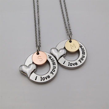 Two Tones I love you more necklace Mom gift daughter gift Mother daughter necklace personalized gifts Gift for him for her girlfriend gift