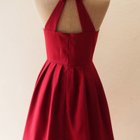 Dark Red Dress, Maroon Blood Red Party Dress, Red Summer Dress, Open Back Cut Off Back Dress, Burgundy Bridesmaid Dress , XS-XL, Custom