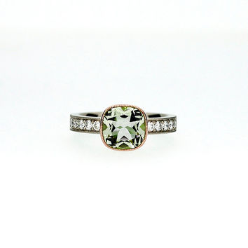Cushion cut peridot engagement ring made from white and rose gold, diamond engagement, peridot, rose gold, milgrain, bezel, unique, green