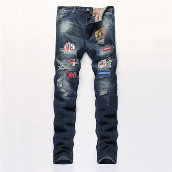 Ripped Holes Men Jeans Slim Blue Rinsed Denim Jeans [6541848515]