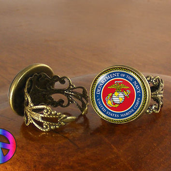 US United States Navy Adjustable Ring Rings Jewelry Jewellery Women Gift
