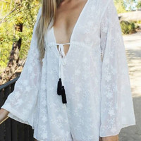 Plunge Neck Lace Playsuit