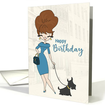 Sassy Woman in Blue Dress Walking a Dog for Birthday card