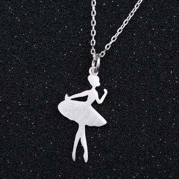 Jisensp New Arrival Cute Ballerina Charm Necklace Wonder Women Simple Ballet Necklaces Dancers Jewelry SYXL064