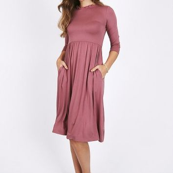 Postcards Ruffle Neck Dress In Mauve