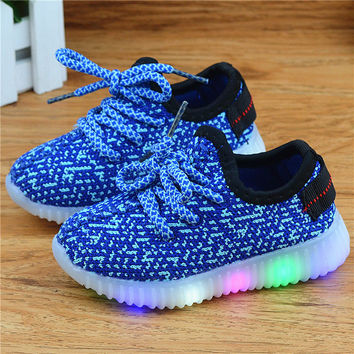 EU 21-36  Mesh children shoes LED shoes with lights for kids boys Lighted Sport Shoes girls boys Sneakers