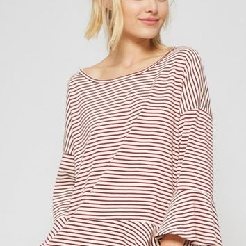 Red Striped Ruffle Top