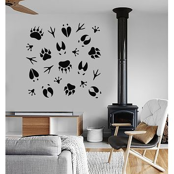 Vinyl Wall Decal Forest Animal Tracks Nature Hunting Club Hunter Stickers (3726ig)