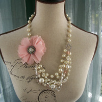 Asymmetrical Tangle Necklace with Rhinestone Chain and Fabric Floral Brooch - The Ice Swan