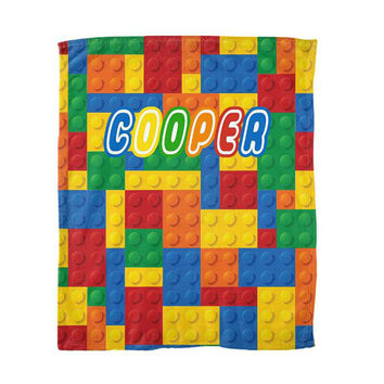 LEGO Blanket Boy Bedding Building Blocks Personalized Soft Baby Blanket Nursery Fleece Blanket MONOGRAM Nursery Decor 50x60 60x80