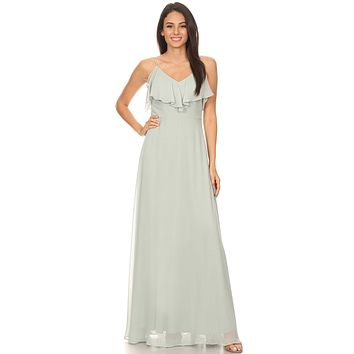 Ruffled Cold-Shoulder Long Bridesmaids Dress Sage Green