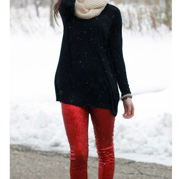 Sequin Leggings - Red