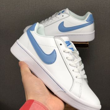 HCXX 19June 1227 Nike Blazer Leather Fashion Casual Skate Shoes white blue