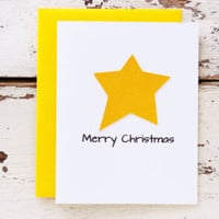 Christmas Card -Yellow Star - Boxed Set of 12 Cards & Envelopes - Folk Art Christmas - Simple Card