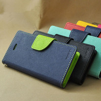 Flip Wallet Leather Case Cover for iphone 4 4s 5 5s SE 5c 6 6s 7 plus double color mixed stand flip cover mobile phone case