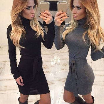 Sexy Women  Autumn Long  Sleeve  Dress  Fashion Bandage Bodycon Collar  Evening Party Mini Dress Club wear Black Dress S