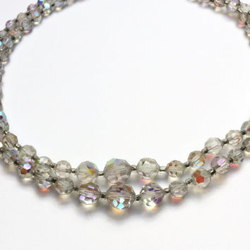 Vintage Crystal Necklace - 1950s 1960s - Aurora Borealis Multi Faceted Glass Beads - Double Strand Vintage Necklace