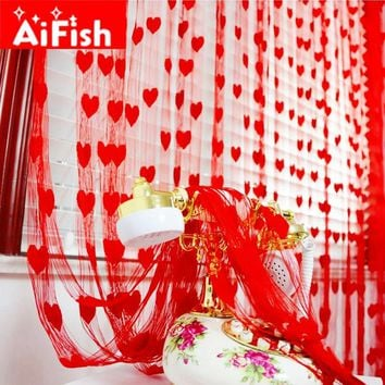 Ready Made String Curtains W1m *H2m Heart Shape Tulle Curtain For Living Room Door Partition Wall Vestibule Curtain AP240-20