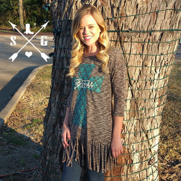 Faith Cross On Long Grey Fringe Shirt