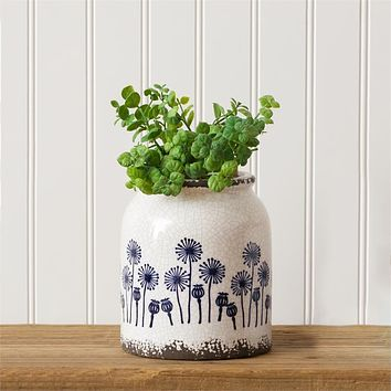 Blue and White Dandelion Pottery Crock