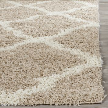 Safavieh Dallas Shag Beige/ Ivory Rug (5'1 x 7'6) | Overstock.com Shopping - The Best Deals on 5x8 - 6x9 Rugs
