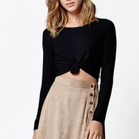 LA Hearts Faux Suede Skater Skirt - Womens Skirt