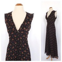 Vintage 1990s Ralph Lauren Silk Dress Black Floral Maxi Dress Country Prairie Sundress
