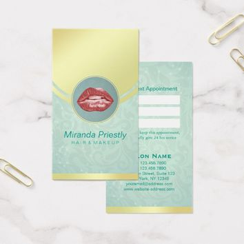 Beauty Salon Makeup Teal Gold Red Lips Appointment Business Card