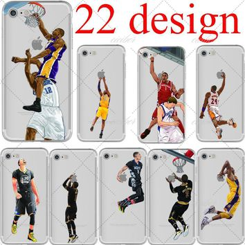 basketball cartoon lebron james kobe bryant soft silicone phone cases cover for iphone 6 6s 7 plus 5s se capinha coque fundas  number 5