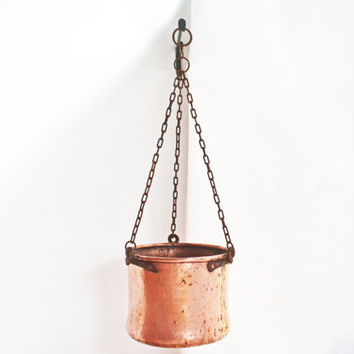Copper Bucket Hanging, Solid Copper Antique Bucket, Handmade Copper and Steel Well Bucket, Large Metal Pail, Brass Cauldron