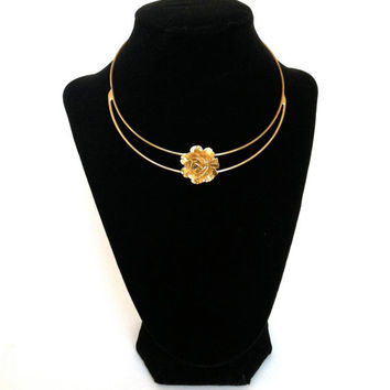 Vintage Choker Necklace Gold Tone Rose Signed Vogue Jlry Vogue Jewelry Statement Piece