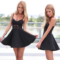 Hot Sexy Women Summer Casual Sleeveless Skater Evening Cocktail Short Mini Dress