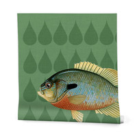 Natt Green and Yellow Fish Wrapping Paper