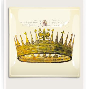 Royal Crown Decoupage Glass Tray