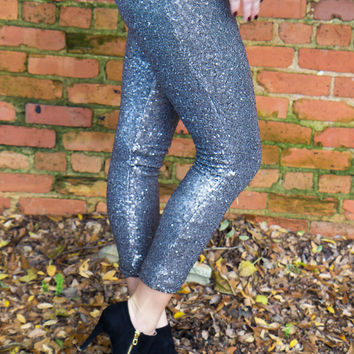 Glam It Up Sequined Leggings - Silver - Final Sale