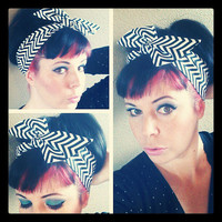 Black and White Chevron Dolly Bow Headwrap Bandana Hair Bow 1940s 1950s Style