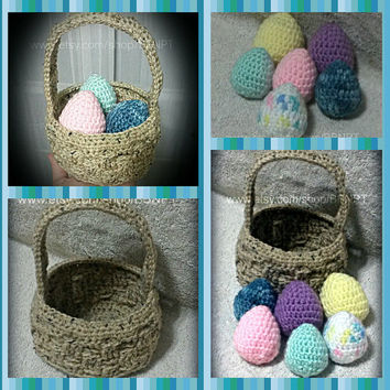 Soft Crochet Easter Basket with 6 pastel crochet eggs ( basket weave, purple, blue,yellow, pink, green)
