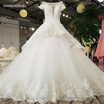 LS55410 two layers skirt tulle wedding dress short sleeves scoop neck lace edge lace up back 2018 china newest wedding dress